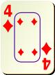 """Изображение игральной карты c рамкой """"Diamond 4"""" (Diamond 4)"""