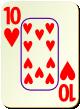 """Изображение игральной карты c рамкой """"Heart 10"""" (Heart 10)"""