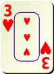 """Изображение игральной карты c рамкой """"Heart 3"""" (Heart 3)"""