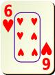"""Изображение игральной карты c рамкой """"Heart 6"""" (Heart 6)"""