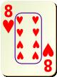 """Изображение игральной карты c рамкой """"Heart 8"""" (Heart 8)"""