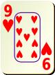 """Изображение игральной карты c рамкой """"Heart 9"""" (Heart 9)"""