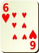 """Изображение игральной карты без специфики """"Heart 6"""" (Heart 6)"""