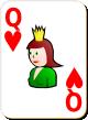 """Изображение игральной карты с белым фоном """"Heart Queen"""" (Heart Queen)"""